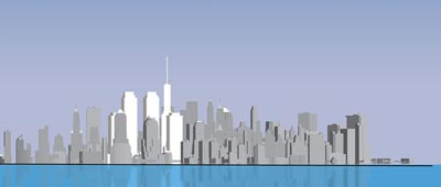 Skyline elevation of Memorial Park scheme viewed from New Jersey